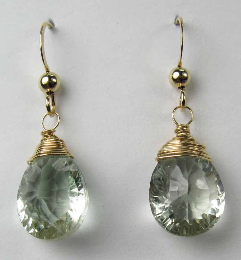 Gold Wire-Wrapped Earrings - Green Amethsyt
