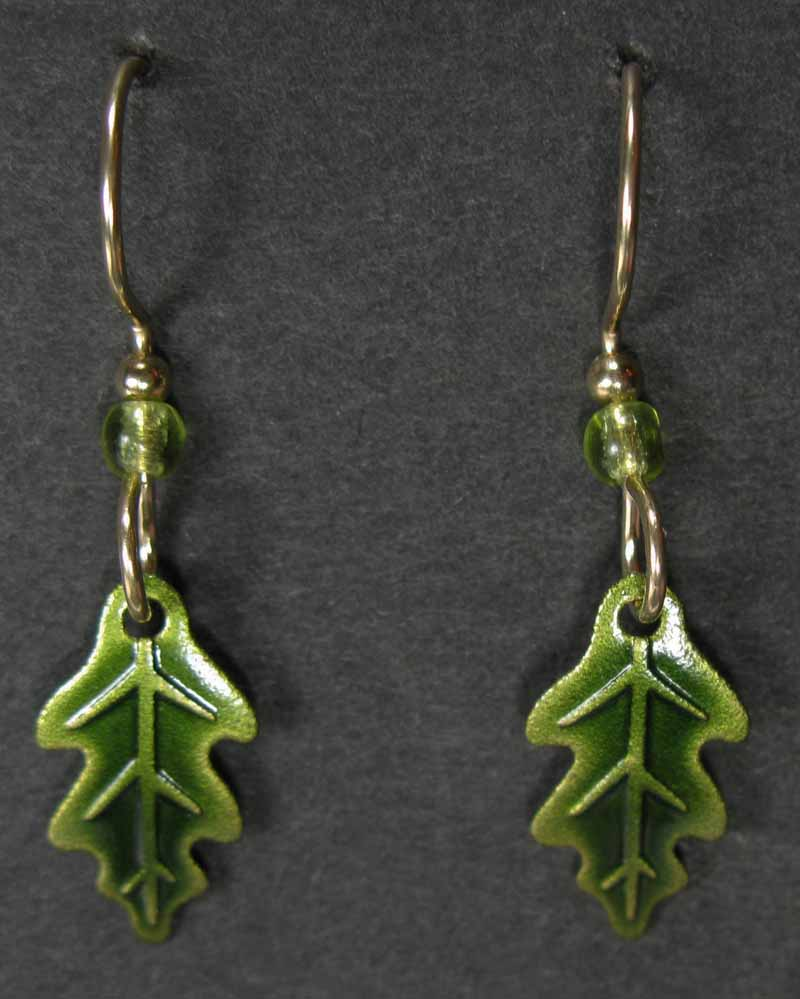 Oak Leaf Green Earrings