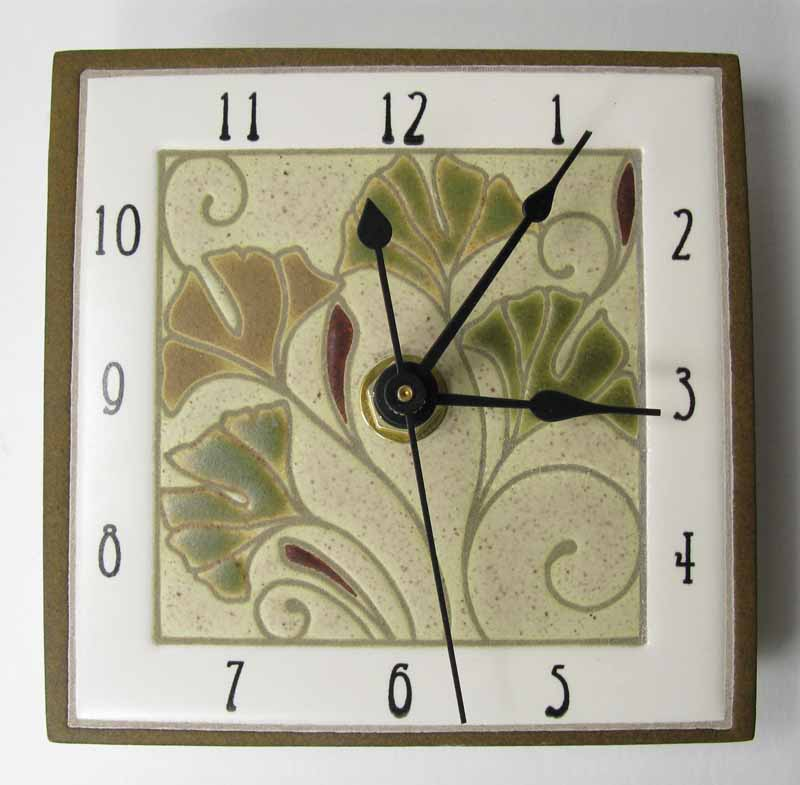 Ginkgo clock on wall