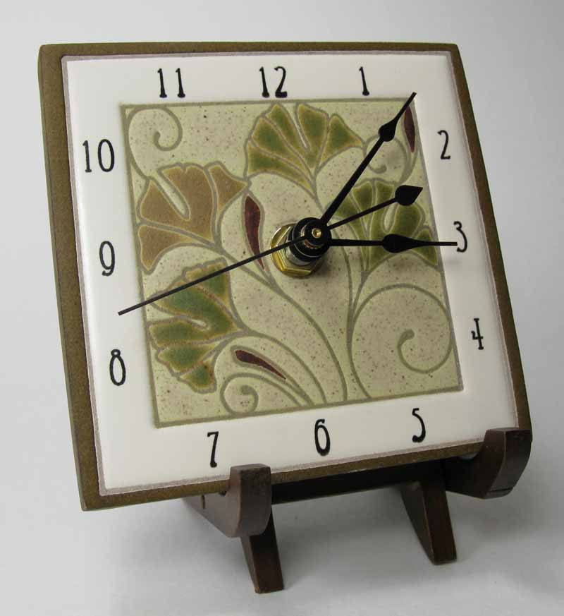 Ginkgo clock on stand