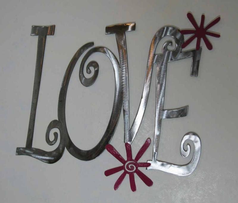Love  and Flowers Steel Wall Art