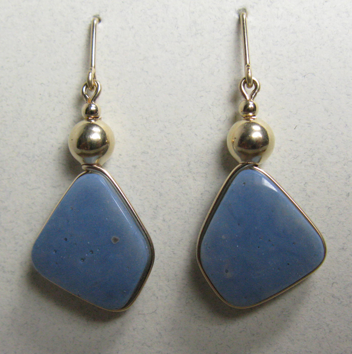 Leland Blue Stone Earrings in Gold