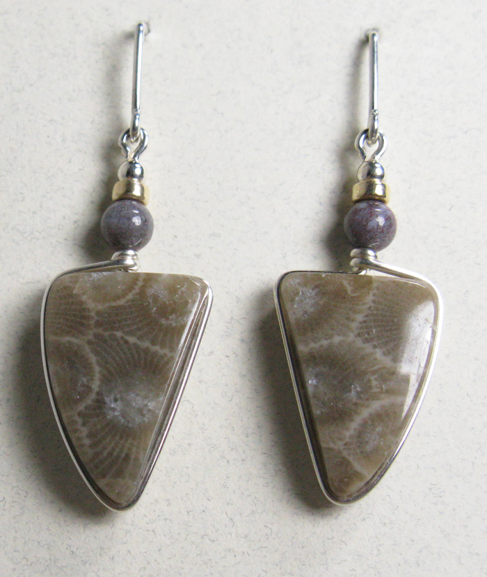 Petoskey Stone Earrings - Silver with Indian Agate