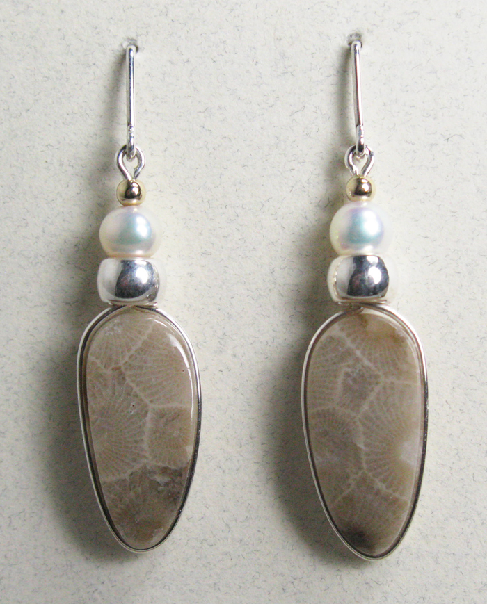 Petoskey Stone Earrings - Sterling and Pearls