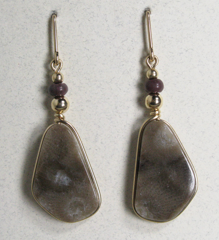 Petoskey Stone Earrings - Gold and Montana Agate