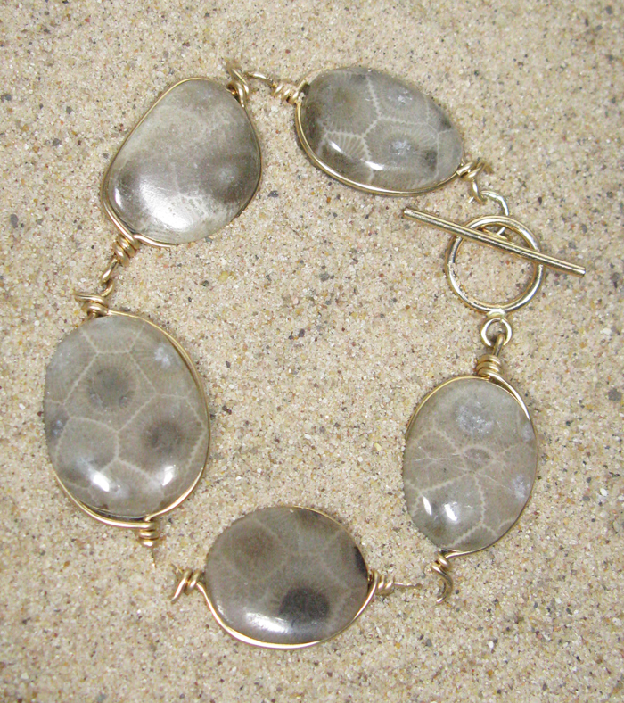 Petoskey Stone Bracelet in Gold Wire
