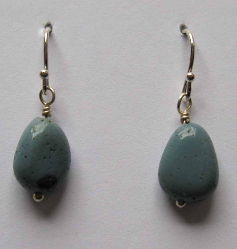 Leland Blue Stone Small Freeform Oval Earrings