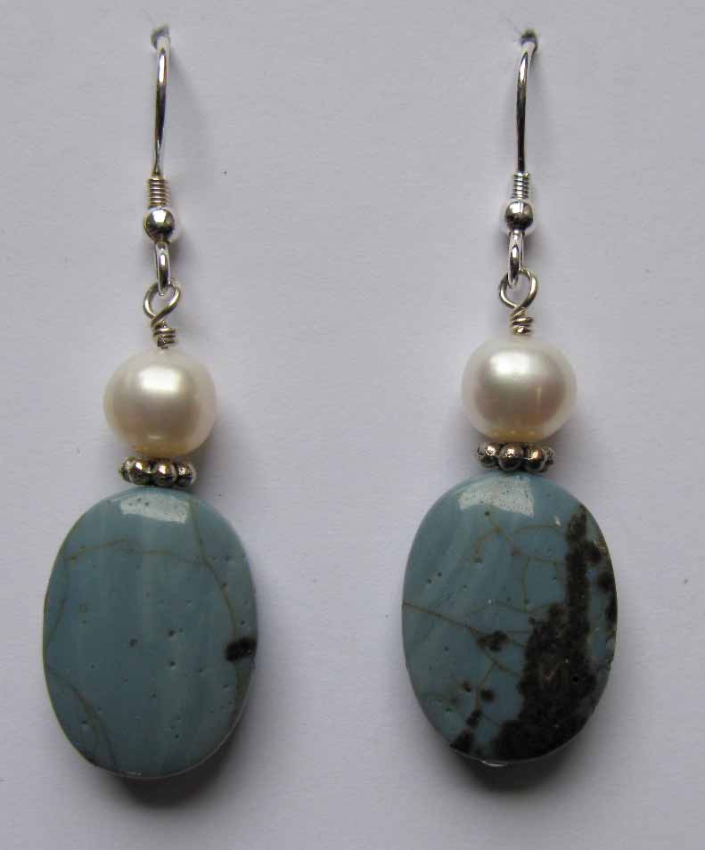 Leland Blue Earrings with Large Pearls