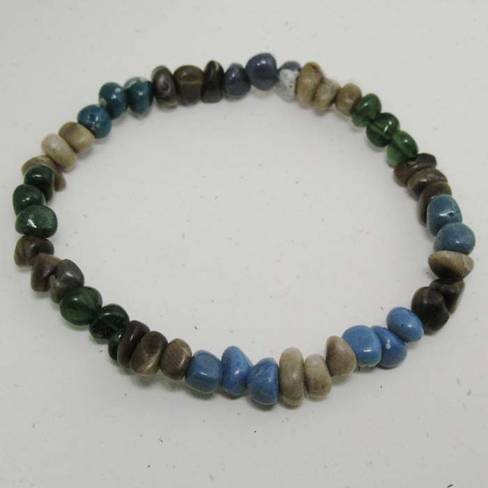 Stretchy Bracelet in Leland Blue and Petoskey Stones