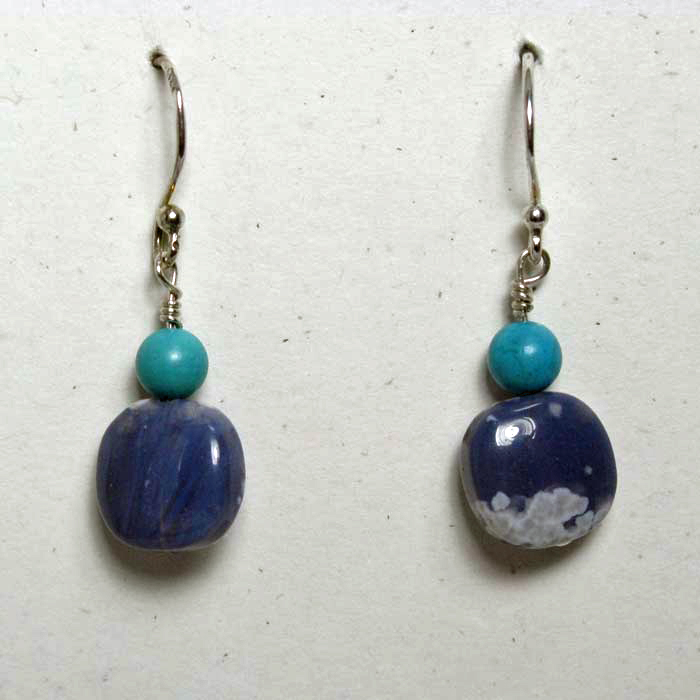 Small Leland Stone Blue Cushion Earrings