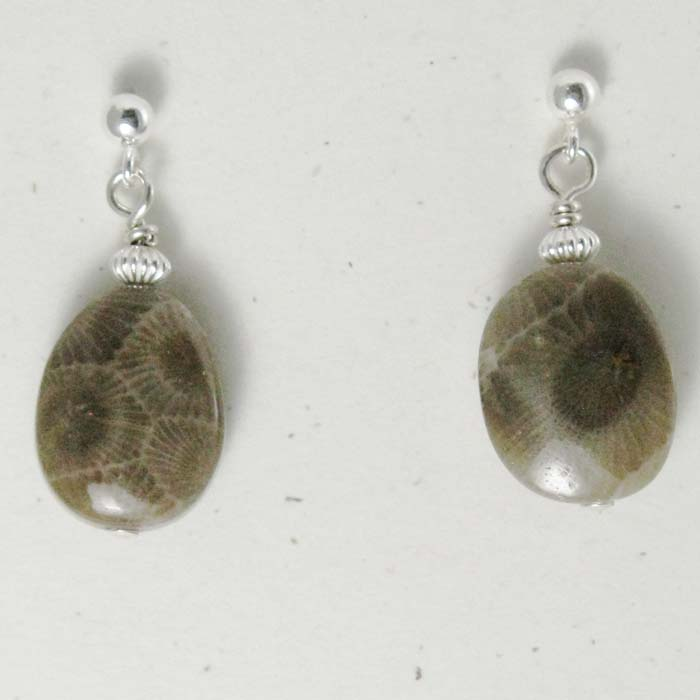 Small Oval Petoskey Stone Earrings