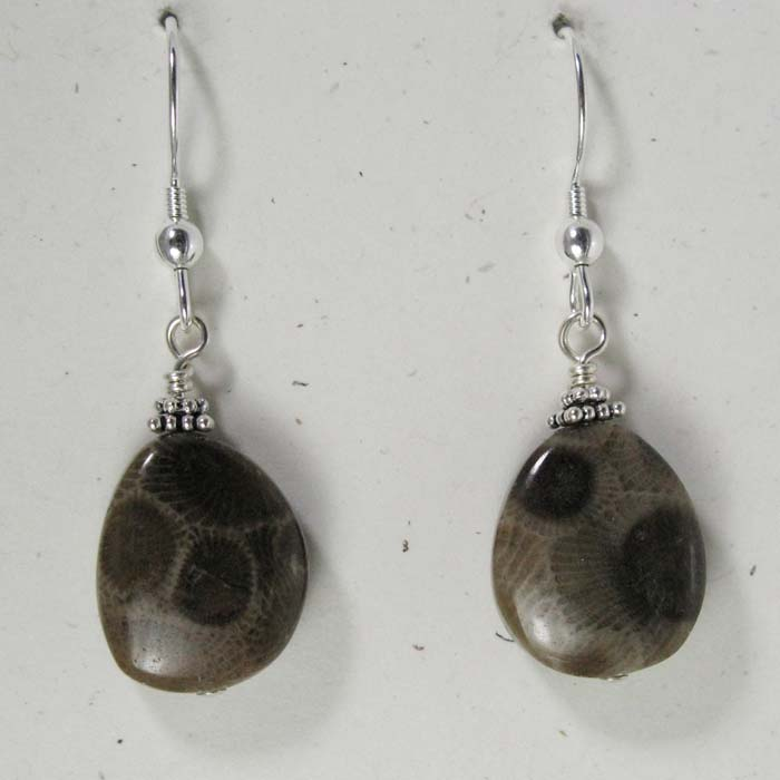 Large Teardrop Petoskey Stone Earrings