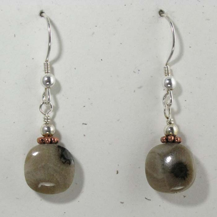 Petoskey Stone Earrings - Small Cushion Shape Stone