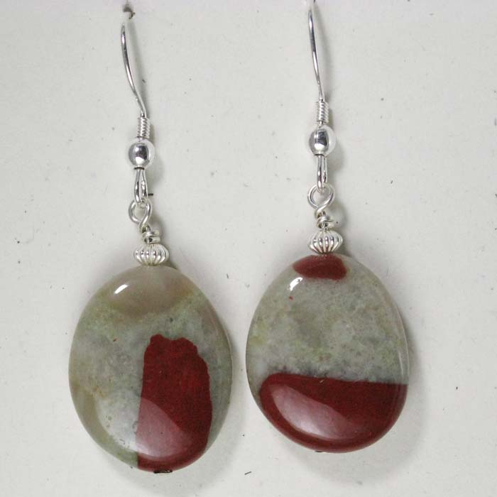 Large Oval Pudding Stone Earrings