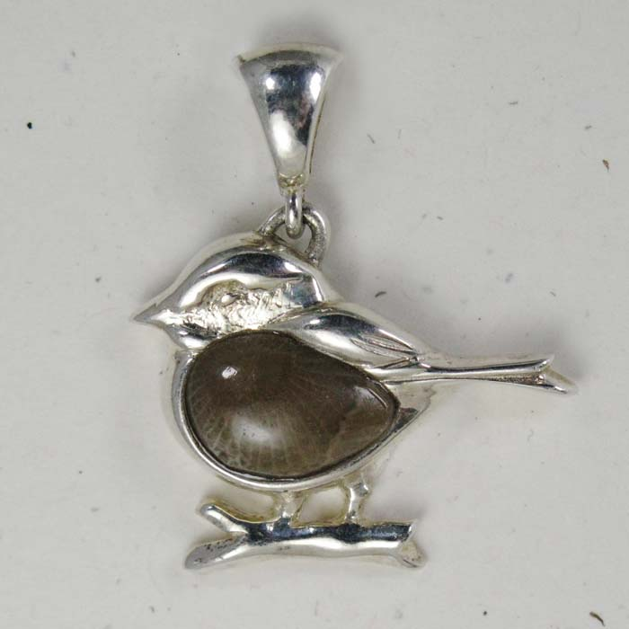 Cast Bird Pendant in Petoskey Stone