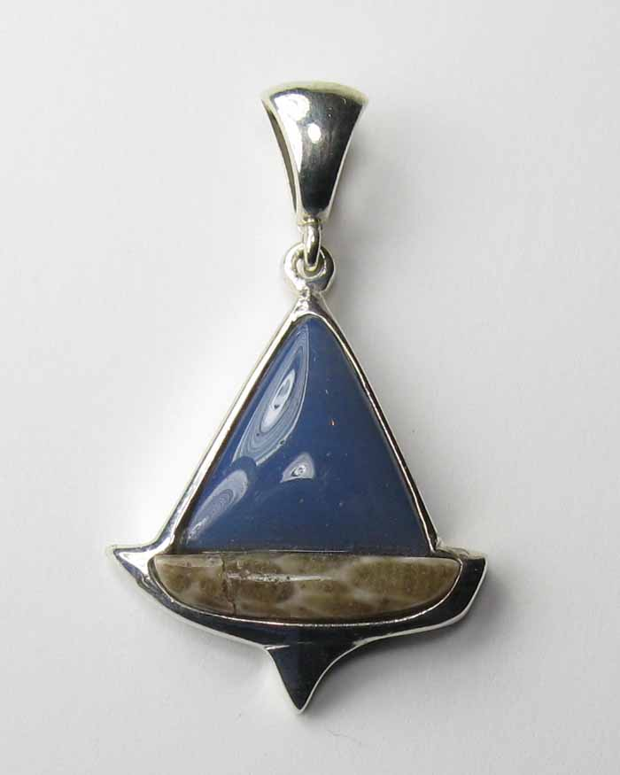 Sailboat Pendant in Leland Blue and Petoskey Stone