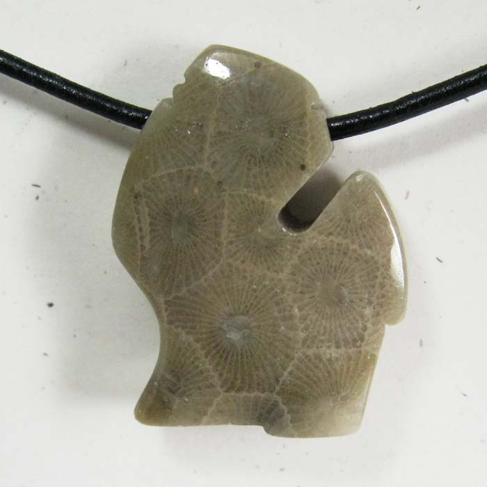 Michigan Pendant in Petoskey Stone