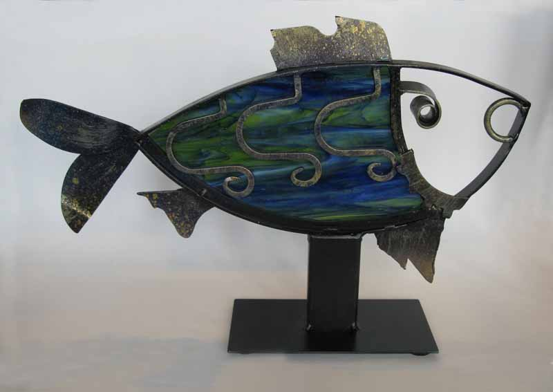 Steel Fish with Blue-Green Glass