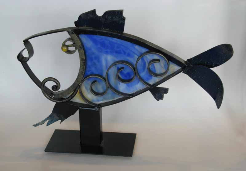 Steel Fish with Blue Glass