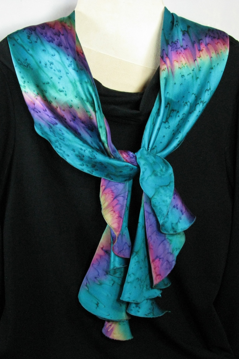 Silk Swirl Scarf in Hot Mint
