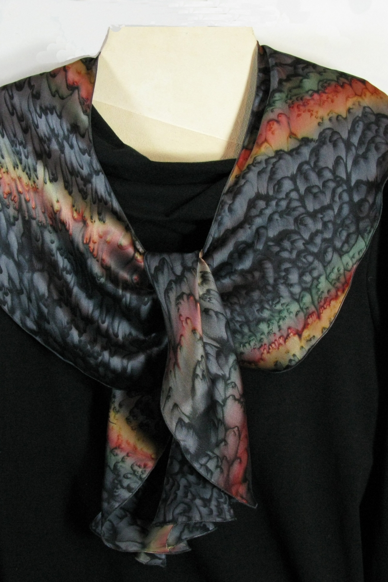 Silk Swirl Scarf in Black