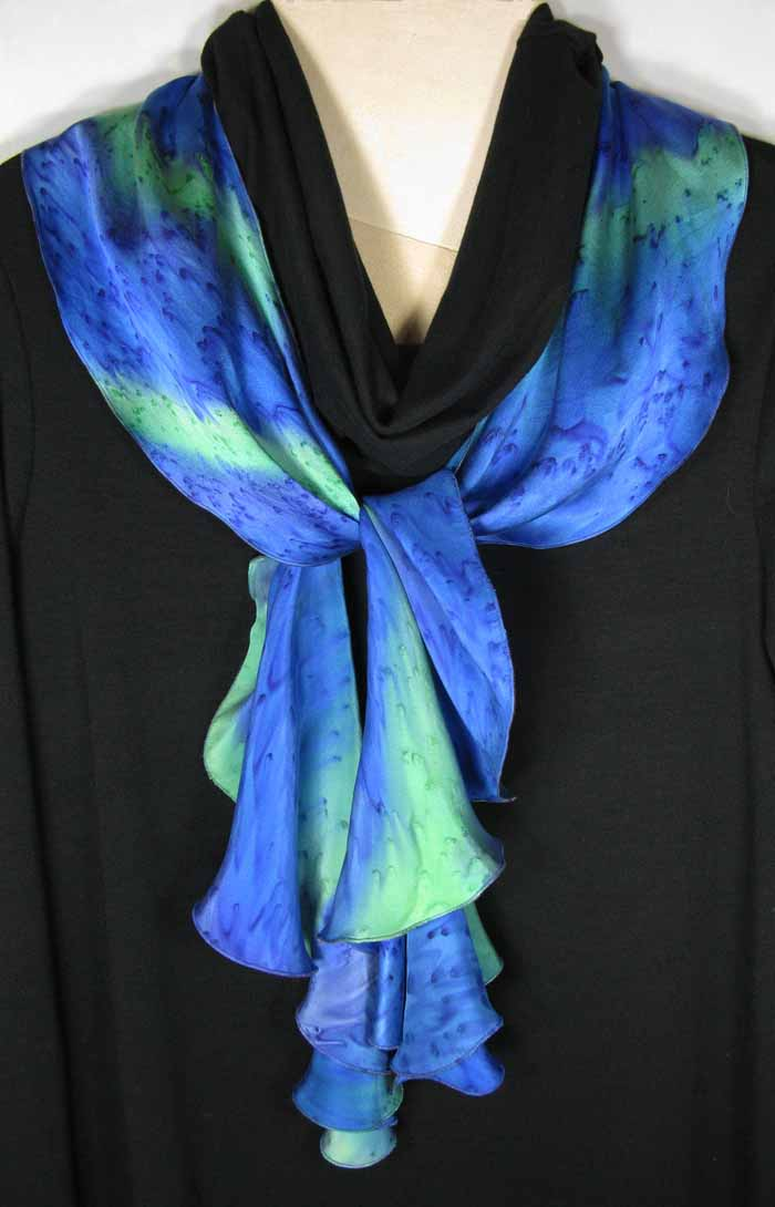 Silk Swirl Scarf in Blue