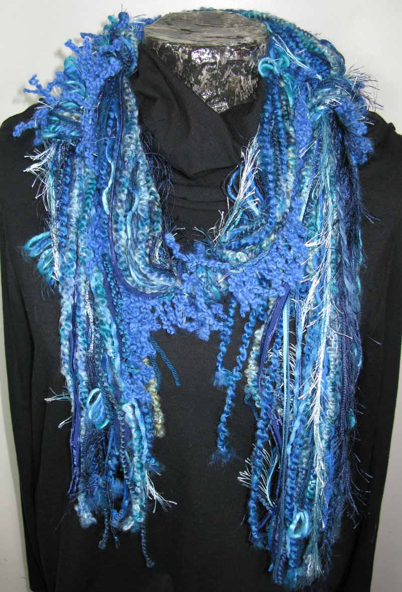 Knotted Fiber Scarf in Cool Water Blue