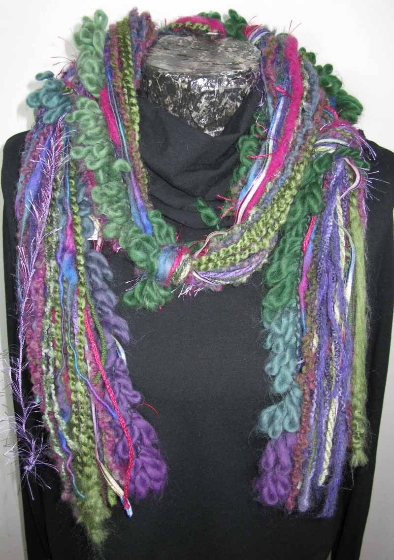 Knotted Fiber Scarf in Green Garden Flowers