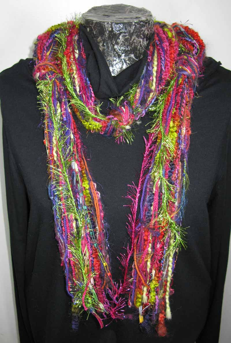 Knotted Fiber Scarf in Kiwi n Berries