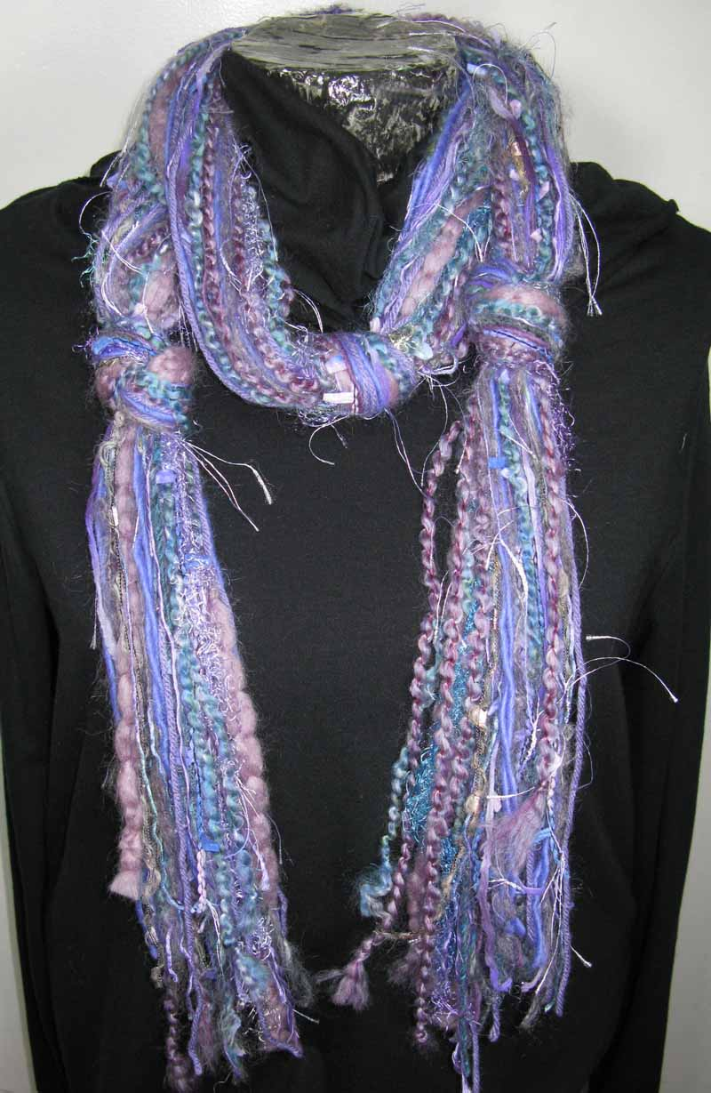 Knotted Fiber Scarf in Lilacs n Lavendar