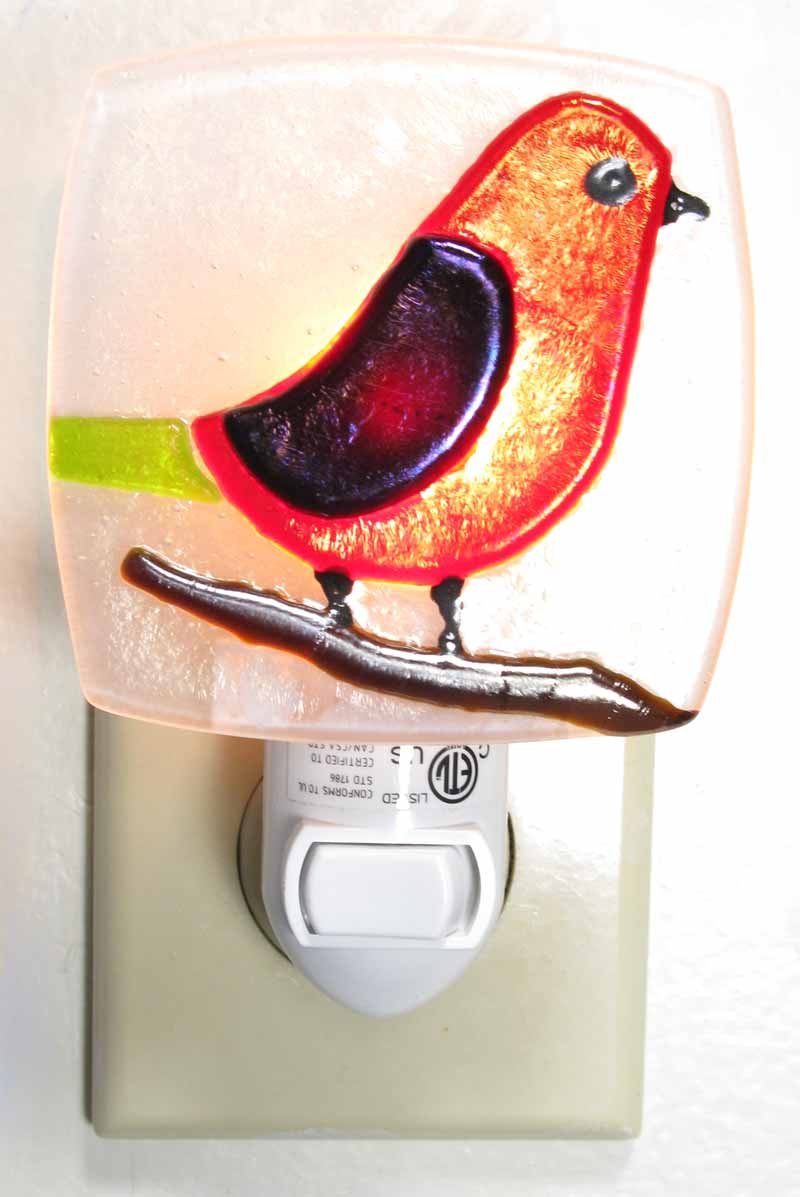 Glass Nightlight - Bird in Red