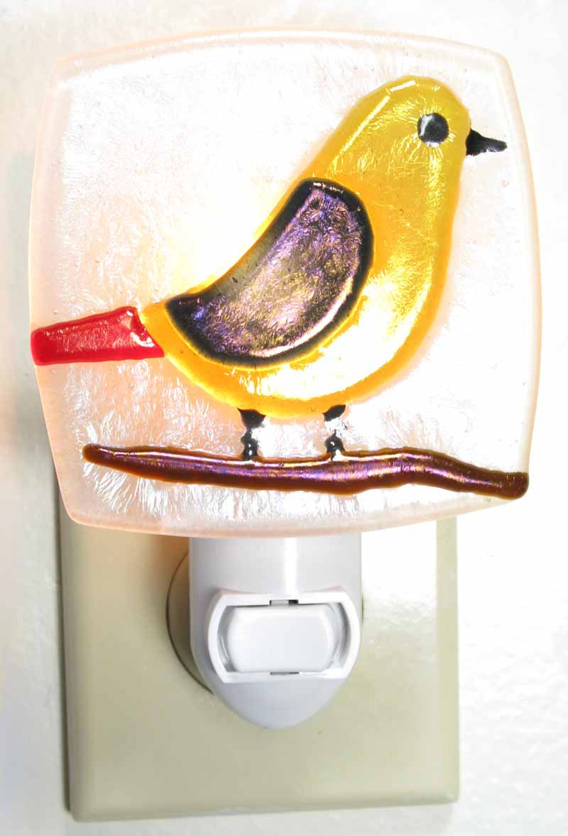 Glass Nightlight - Bird in Yellow