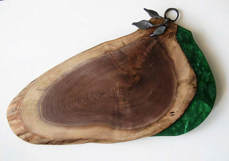 Walnut Board with Green Epoxy and Iron Leaves
