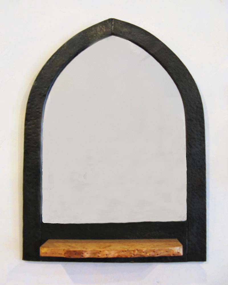 Arched Mirror, Forged Steel with Wood Shelf