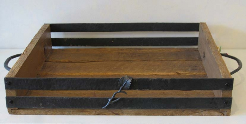 Salvaged Oak & Iron Tray with Leaves