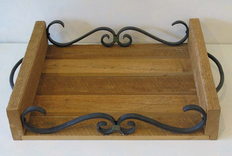 Salvaged Oak & Iron Tray with Scrolls