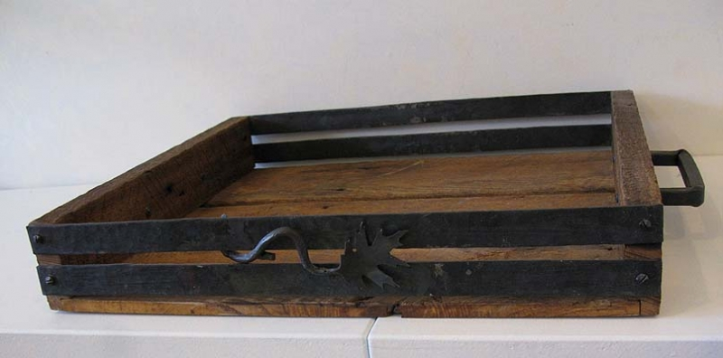 Salvaged Oak & Iron Tray - Square Handles