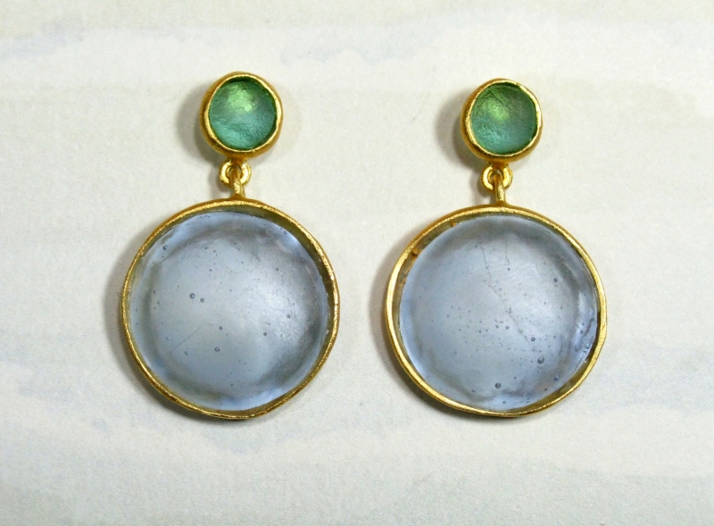 Cast Glass Post Earrings in Blue-Teal