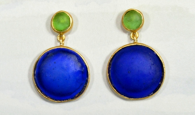 Round Cast Glass Post Earrings in Peridot-Cobalt