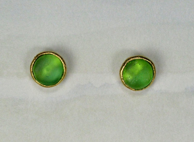 Cast Glass Post Earrings in Peridot