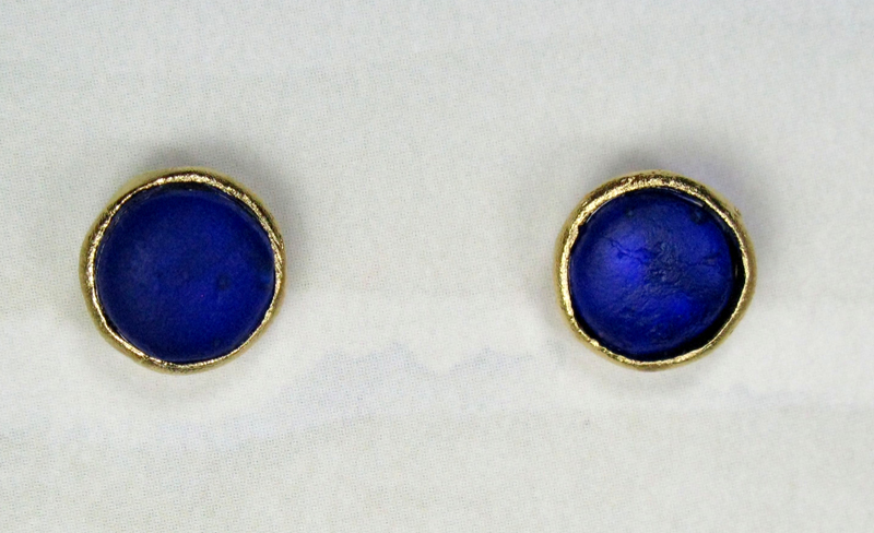 Round Cast Glass Post Earrings in Cobalt