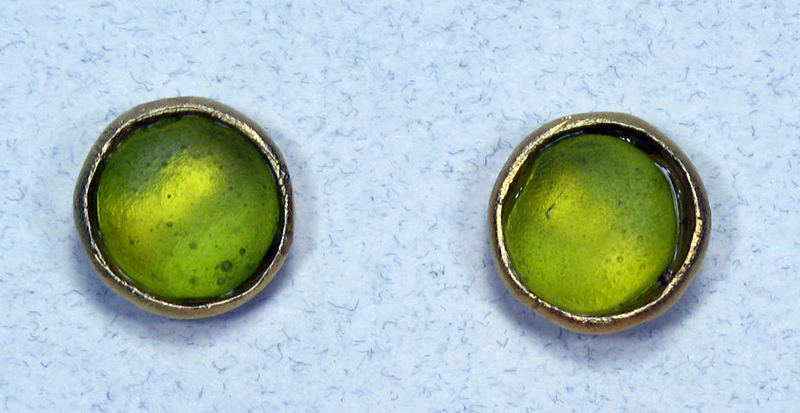Cast Glass Post Earrings in Kiwi