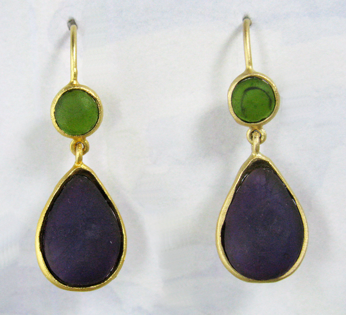 Cast Glass Drop Oval Earrings in Olive-Purple