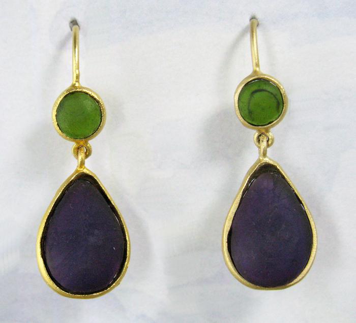 Cast Glass Drop Oval Earrings In Olive Purple