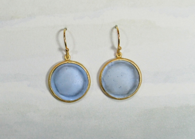 Round Cast Glass Drop Earrings in Blue