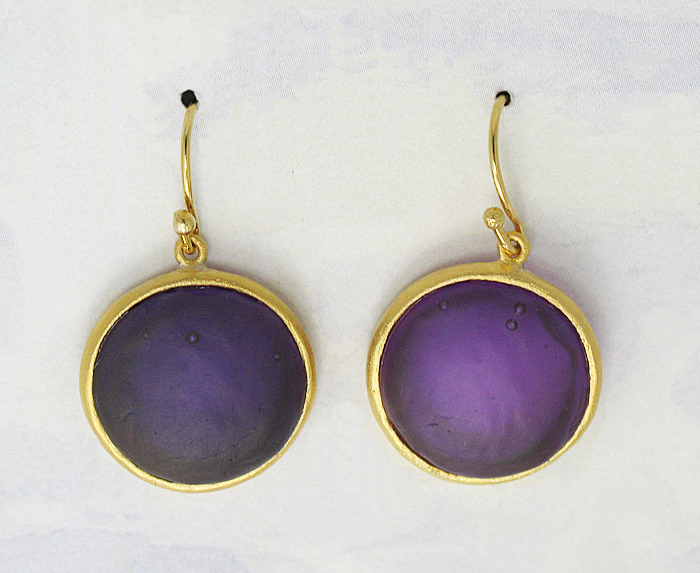 Round Cast Glass Drop Earrings in Purple
