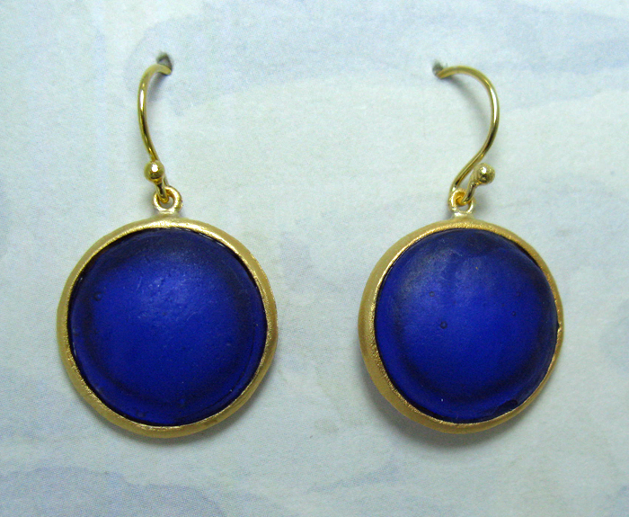 Round Cast Glass Drop Earrings in Cobalt