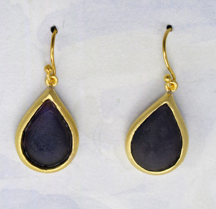 Cast Glass Pear Drop Earrings in Purple