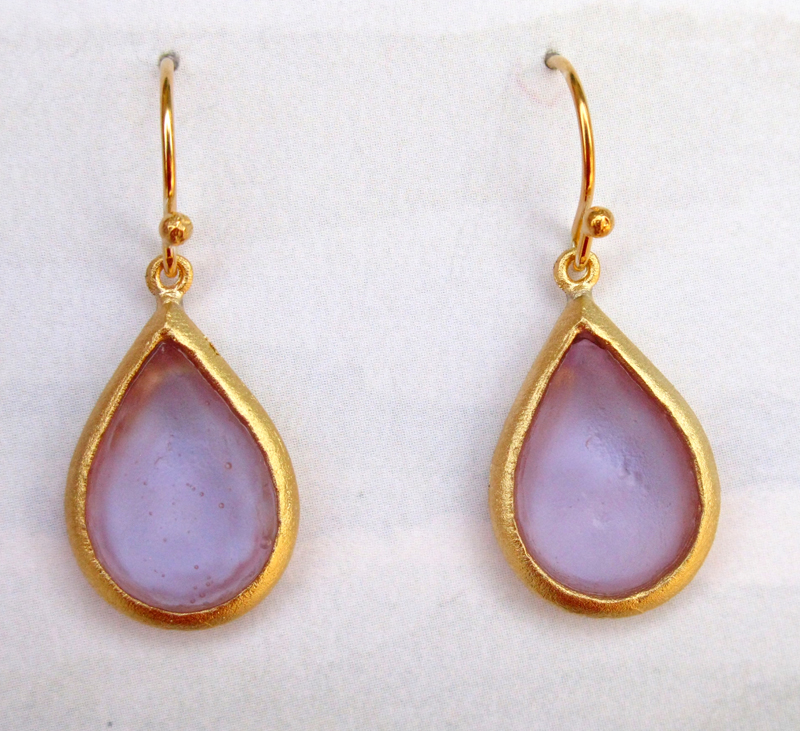 Cast Glass Pear Drop Earrings in Lavender