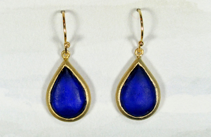 Cast Glass Pear Drop Earrings in Cobalt